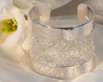 Silver cuff, crocheted cuff, lacy, fashion jewelry, bracelet cuff, modern jewelry, Statement Cuff,  Intricate, Bracelet