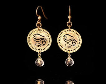 Zodiac Pisces earrings, Gold earrings, Short earrings, Hebrew jewelry, Kabbalah jewelry, Birthstone Aquamarine, Astrology jewelry