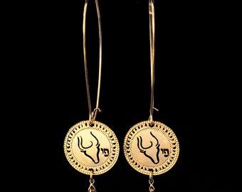 Zodiac Taurus earrings, Gold earrings, Long earrings, Star Sign Jewelry, Birthstone Emerald, Zodiac jewelry, Astrology, Spiritual jewelry