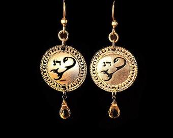 Zodiac Scorpio earrings, Gold earrings, Birthstone Citrine earrings, Zodiac jewelry, Citrine jewelry, Astrological jewelry, Kabbalah jewelry