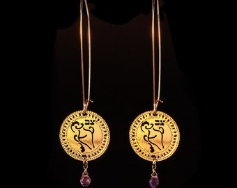 Zodiac Aquarius earrings, Gold earrings, Short earrings, Birthstone Amethyst earrings, Kabbalah jewlery, Horoscope jewelry