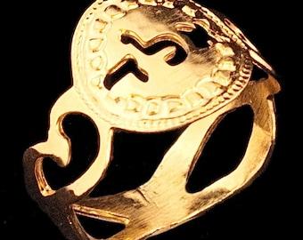 Gold ring, Kabbalah ring - size 6.75 - Judaica jewelry, Jewish ring, Hebrew ring