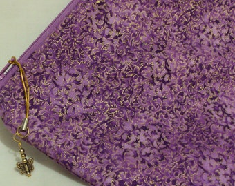 Purple  with metalic design cosmetic padded bag  for the purple lover