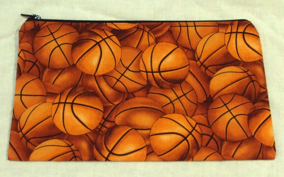 Basketballs sport pencil zipper bag, gym bag accessory