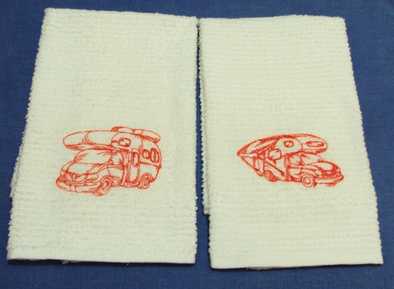 RV kitchen camp towel Old Camping Jelopy RVs  set of 2  CUTE camping towel
