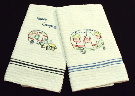 Happy camping  2 kitchen towels   embroidery