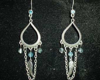 Pewter guardian angel wing dangle earrings