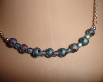 Glass bead blue ab disco ball necklace