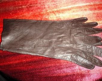 Vintage chocolate kidskin ladies gloves