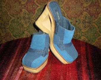 Vintage denim patchwork wedge heel mules