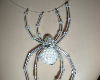 Crystal AB illusion beaded spider necklace