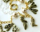 Shoe Lover Swarovski Pearl Charm Bracelet