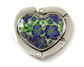 BATIK HEART Blue Portable Purse Hook / Bag Hanger