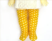 Lati Yellow Pukifee Doll Socks for Tiny BJD or Blythe Bamboo Mustard Yellow Dot