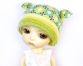 Lati Yellow Hat : Doll Clothes Lucky Green Earbits Hat for tiny BJD dolls Cotton Knit
