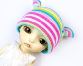 Lati Yellow Hat : Doll Clothes Pink party stripe bright spring Earbits Hat for tiny BJD dolls Cotton Knit