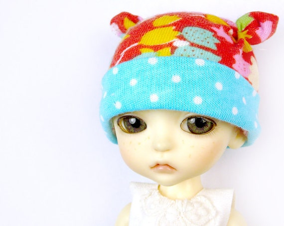 Lati Yellow Hat : Doll Clothes Red and Turquoise Dutch tulip flowers Earbits Hat for tiny BJD dolls Cotton Knit