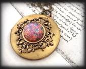 PINK OPAL, vintage glass cab locket necklace in antique brass