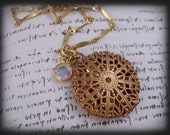 CRYSTAL SCENT, rare vintage brass and copper locket necklace