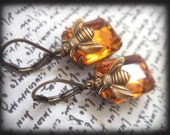 HONEY, estate style earrings with vintage glass jewels and antiqued brass bee charms
