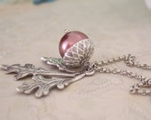 silver acorn necklace, Find under the Oak Tree, antique silver acorn necklace with glass pearl