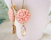 SUMMER GARDEN. coral pink resin flower cab earrings with vintage glass jewel