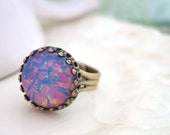 PINK OPAL vintage glass jewel ring in antique brass