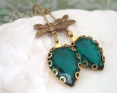 DRAGONFLY POND, golden brass dragonfly charm earrings with vintage emerald glass jewels