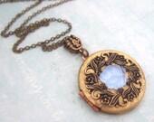 ENCHANTED FOREST, something blue, falling leaf, vintage locket necklace, rose locket, flower necklace, photo locket necklace, vintage brass