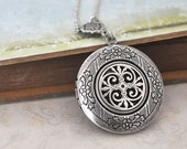 silver locket necklace - THE ETERNAL KNOT - Celtic knot locket necklace in antique silver