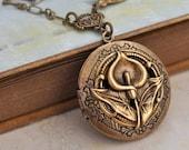 brass locket, locket neklace, calla lily necklace, CALLA LILY,  antiqued brass floral locket necklace