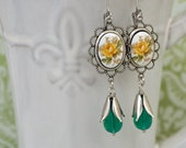 Yellow Rose, vintage glass cab earrings in silver
