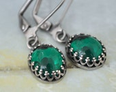 TRUE EMERALD, antiqued silver  Swarovski emerald glass crystal earrings