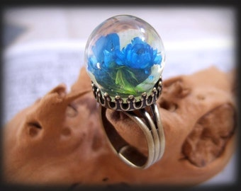 Once There's A Blue Flower, antiqued brass ring with rare vintage resin bubble cab