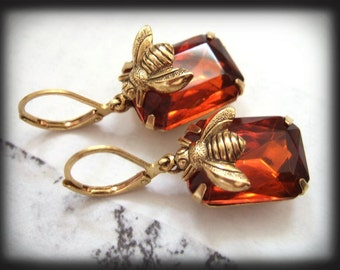 HONEY, estate style earrings with vintage glass jewels and gold bee charms