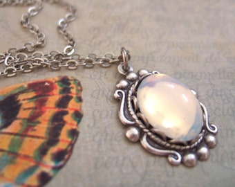 ONCE UNDER The MOONLIGHT antiqued silver necklace with vintage Swarovski glass moonstone cab