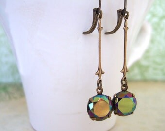NORTHERN STAR, vintage estate style glass jewel earrings