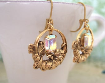 Secret Garden, golden floral earrings with vintage ab glass jewels by Swarovski