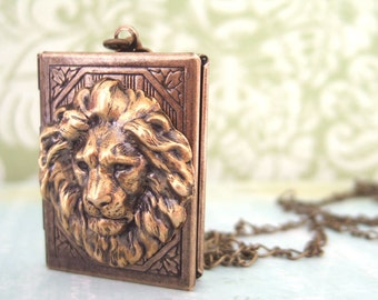 brass book locket, lion locket THE BRAVE ONE vintage style book lion locket necklace in antiqued brass, jungle, safari necklace, animal,