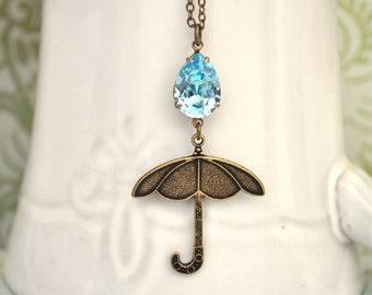 Big RAIN DROP On My Tiny UMBRELLA antique brass necklace with vintage Swarovski auqamarine pear shaped glass jewel