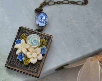 ROSE GARDEN, vintage style hand painted resin rose book locket necklace with light sapphire Swarovski glassjewel