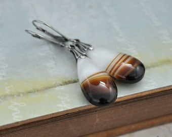 CARAMEL CANDY, antique silver earrings with vintage 80s glass drops