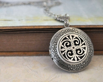 silver locket necklace, THE ETERNAL KNOT, Celtic knot locket necklace in antiqued silver
