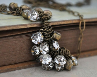 GYPSY. antique brass necklace with vintage acrylic jewels