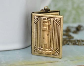 brass locket, brass lighthouse locket, Guidance, Vintage style book locket , light house locket, book locket, blue sapphire, ocean lover