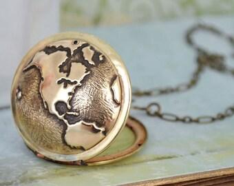 vintage locket necklace, TRAVEL THE WORLD,  globe locket, world map locket, the earth locket, traveler's locket