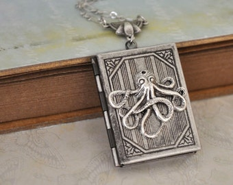 silver locket necklace, book locket, OCTOPUS LOCKET octopus book style locket necklace in antique silver
