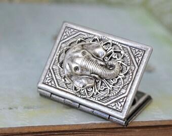 silver locket necklace, book elephant locket, SAFARI, antiqued silver book style elephant locket necklace
