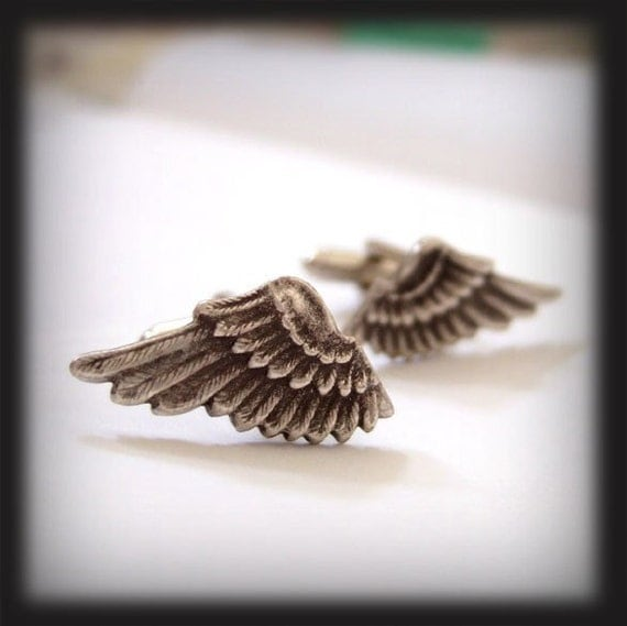 ANTIQUE SILVER WING CUFFLINKS SMALL