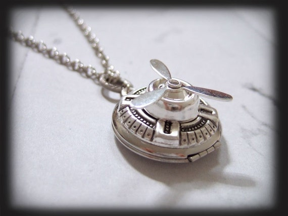 MOVING FORWARD, antique silver steampunk spinner locket necklace